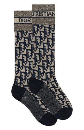 Женские хлопковые носки DIOR темно-синего цвета, арт. 114E47AM726X5803 | Фото 1