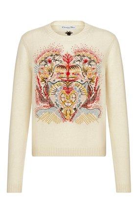 Женский кашемировый свитер DIOR бежевого цвета, арт. 114S26AM012X0810 | Фото 1