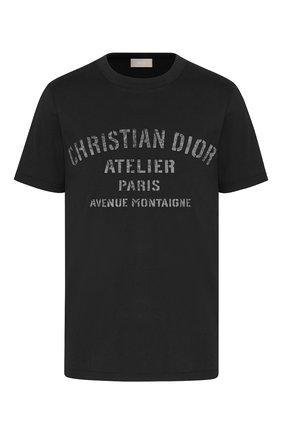 Мужская хлопковая футболка DIOR черного цвета, арт. 043J615A0589C980   Фото 1