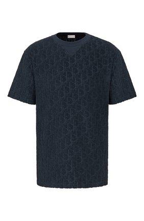 Мужская хлопковая футболка DIOR темно-синего цвета, арт. 113J692A0614C540 | Фото 1 (Материал внешний: Хлопок; Рукава: Короткие; Стили: Кэжуэл; Принт: С принтом)