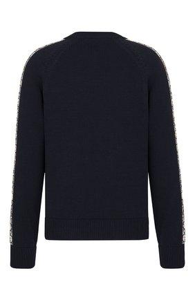 Мужской хлопковый свитер DIOR темно-синего цвета, арт. 113M638AT187C585 | Фото 2 (Стили: Кэжуэл; Принт: С принтом; Материал внешний: Хлопок; Мужское Кросс-КТ: Свитер-одежда)