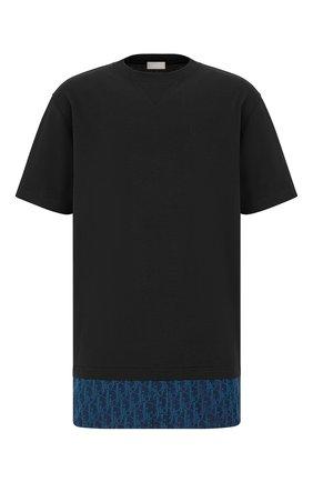 Мужская хлопковая футболка DIOR темно-синего цвета, арт. 113J632A0677C585 | Фото 1 (Материал внешний: Хлопок; Рукава: Короткие; Стили: Кэжуэл; Принт: С принтом)