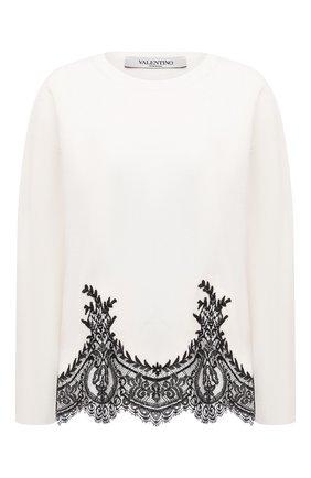 Женский пуловер из шерсти и кашемира VALENTINO черно-белого цвета, арт. VB3KCB83654 | Фото 1