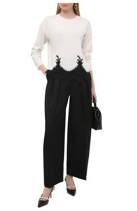 Женский пуловер из шерсти и кашемира VALENTINO черно-белого цвета, арт. VB3KCB83654 | Фото 2