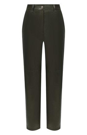 Женские кожаные брюки BRUNELLO CUCINELLI зеленого цвета, арт. M0TANP7425 | Фото 1