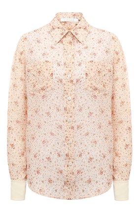 Женская шелковая рубашка CHLOÉ бежевого цвета, арт. CHC21SHT03330 | Фото 1