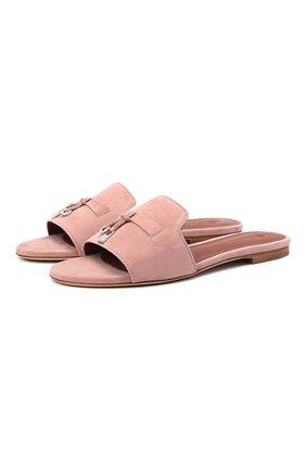 Женские замшевые шлепанцы summer charms LORO PIANA розового цвета, арт. FAI5580   Фото 1