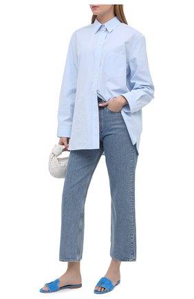 Женские замшевые шлепанцы LORO PIANA синего цвета, арт. FAL5901 | Фото 2