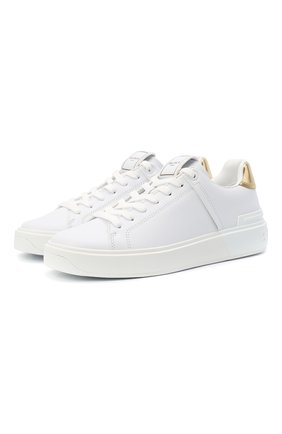 Женские кожаные кеды b-court BALMAIN белого цвета, арт. VN1C580/LAML | Фото 1 (Материал внутренний: Натуральная кожа; Подошва: Платформа)