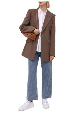 Женские кожаные кеды b-court BALMAIN белого цвета, арт. VN1C580/LAML | Фото 2 (Материал внутренний: Натуральная кожа; Подошва: Платформа)