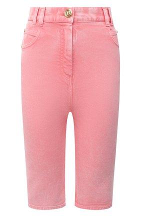 Женские джинсовые шорты BALMAIN розового цвета, арт. VF15425/D090 | Фото 1