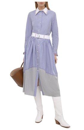 Женская хлопковая рубашка CHLOÉ голубого цвета, арт. CHC21SHT73045 | Фото 2