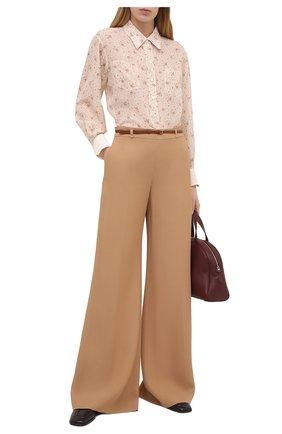 Женские брюки из вискозы CHLOÉ бежевого цвета, арт. CHC21SPA81036 | Фото 2