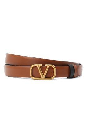 Женский кожаный ремень  VALENTINO коричневого цвета, арт. VW2T0S12/ZFR   Фото 1 (Материал: Кожа)
