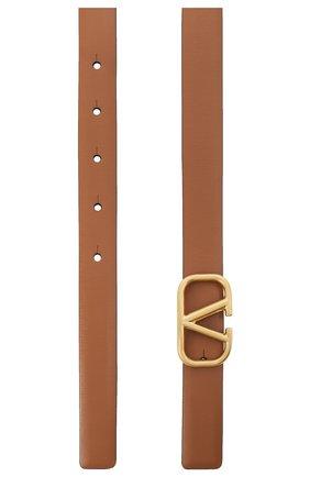 Женский кожаный ремень  VALENTINO коричневого цвета, арт. VW2T0S12/ZFR   Фото 2 (Материал: Кожа)