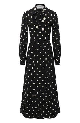 Женское шелковое платье VALENTINO черно-белого цвета, арт. VB3VAQ5265K | Фото 1