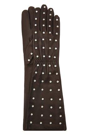 Женские кожаные перчатки BOTTEGA VENETA темно-коричневого цвета, арт. 649948/3V00F | Фото 1 (Длина (верхняя одежда): Длинные)