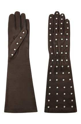 Женские кожаные перчатки BOTTEGA VENETA темно-коричневого цвета, арт. 649948/3V00F | Фото 2 (Длина (верхняя одежда): Длинные)