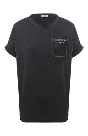 Женская хлопковая футболка BRUNELLO CUCINELLI темно-серого цвета, арт. M0A45BP130   Фото 1