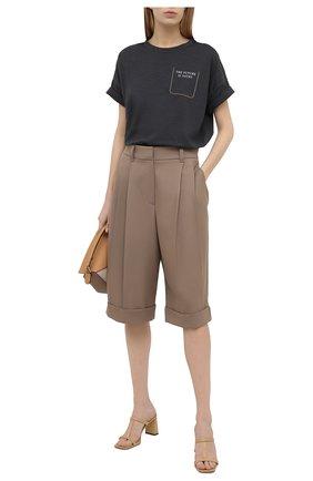 Женская хлопковая футболка BRUNELLO CUCINELLI темно-серого цвета, арт. M0A45BP130   Фото 2
