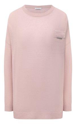 Женский льняной пуловер BRUNELLO CUCINELLI розового цвета, арт. M1T170010 | Фото 1