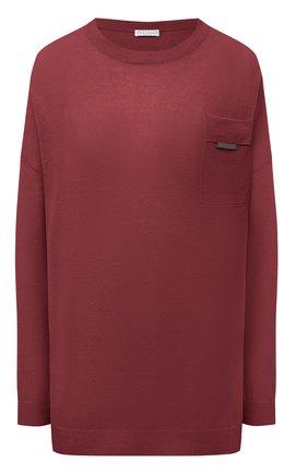 Женский льняной пуловер BRUNELLO CUCINELLI бордового цвета, арт. M1T170010 | Фото 1