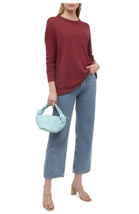 Женский льняной пуловер BRUNELLO CUCINELLI бордового цвета, арт. M1T170010 | Фото 2