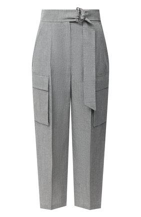 Женские брюки из шерсти и льна BRUNELLO CUCINELLI серого цвета, арт. MF509P7541 | Фото 1