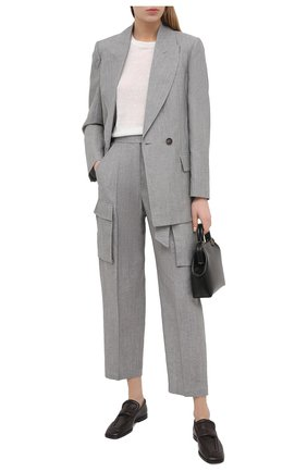 Женские брюки из шерсти и льна BRUNELLO CUCINELLI серого цвета, арт. MF509P7541 | Фото 2