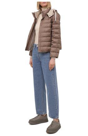 Женская пуховая куртка BRUNELLO CUCINELLI хаки цвета, арт. MH5042138 | Фото 2