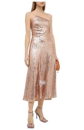 Женское платье с пайетками OFF-WHITE розового цвета, арт. 0WDB301R21FAB001 | Фото 2