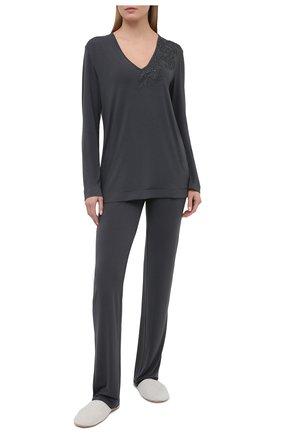 Женские брюки LA PERLA темно-серого цвета, арт. 0044340 | Фото 2