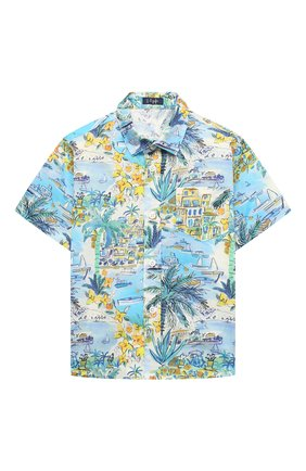 Детская хлопковая рубашка IL GUFO разноцветного цвета, арт. P21CC073C4069/2A-4A | Фото 1 (Материал внешний: Хлопок; Рукава: Короткие; Случай: Повседневный; Ростовка одежда: 18 мес | 86 см, 2 года | 92 см, 3 года | 98 см)