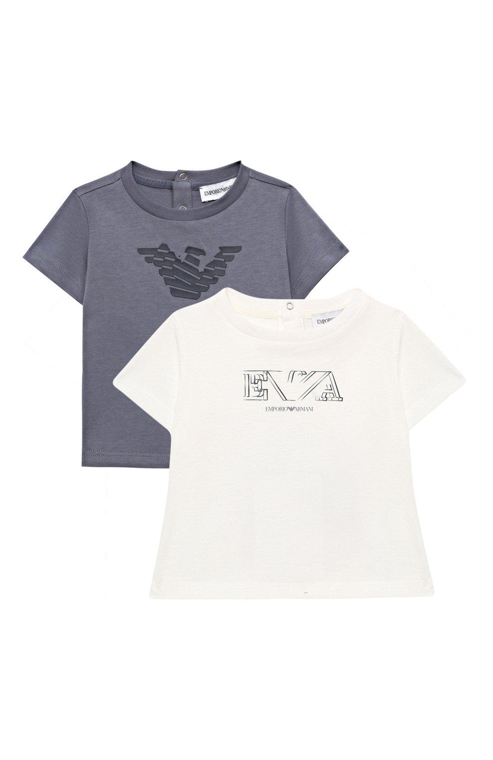 Детский комплект из двух футболок EMPORIO ARMANI белого цвета, арт. 3KHD01/4J09Z | Фото 1