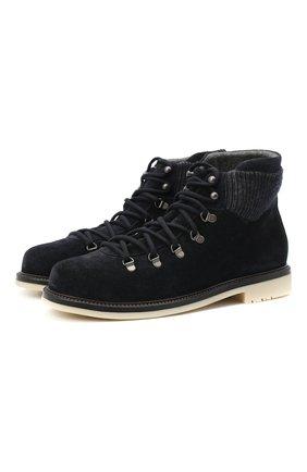 Мужские замшевые ботинки LORO PIANA темно-синего цвета, арт. FAL4424 | Фото 1