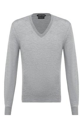 Мужской пуловер из кашемира и шелка TOM FORD серого цвета, арт. BWH99/TFK100 | Фото 1