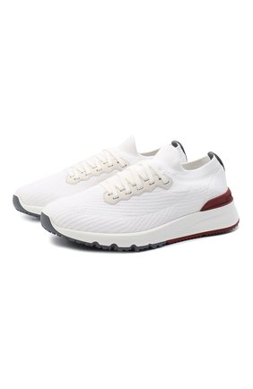 Мужские текстильные кроссовки BRUNELLO CUCINELLI белого цвета, арт. MZUPMB0252 | Фото 1