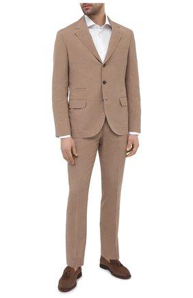 Мужской костюм из шелка и льна BRUNELLO CUCINELLI коричневого цвета, арт. MW4427BT7   Фото 1