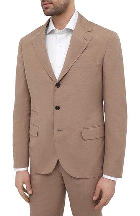 Мужской костюм из шелка и льна BRUNELLO CUCINELLI коричневого цвета, арт. MW4427BT7   Фото 2