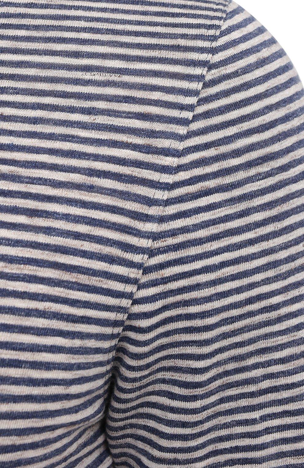 Мужское льняное поло BRUNELLO CUCINELLI синего цвета, арт. MTS683936 | Фото 5 (Застежка: Пуговицы; Рукава: Короткие; Длина (для топов): Стандартные; Кросс-КТ: Трикотаж; Материал внешний: Лен; Стили: Кэжуэл)