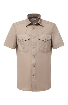 Мужская хлопковая рубашка BRUNELLO CUCINELLI бежевого цвета, арт. ML6803009 | Фото 1 (Рукава: Короткие; Воротник: Кент; Принт: Однотонные; Материал внешний: Хлопок; Стили: Кэжуэл; Случай: Повседневный; Длина (для топов): Стандартные)