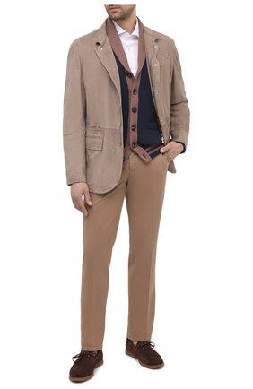 Мужские хлопковые брюки BRUNELLO CUCINELLI темно-бежевого цвета, арт. M289LB1770 | Фото 2 (Силуэт М (брюки): Чиносы; Длина (брюки, джинсы): Стандартные; Случай: Повседневный; Материал внешний: Хлопок; Стили: Кэжуэл)