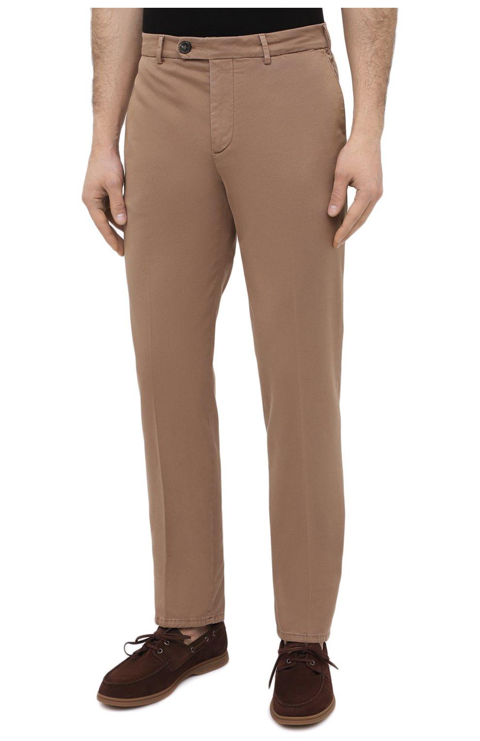 Мужские хлопковые брюки BRUNELLO CUCINELLI темно-бежевого цвета, арт. M289LB1770 | Фото 3 (Силуэт М (брюки): Чиносы; Длина (брюки, джинсы): Стандартные; Случай: Повседневный; Материал внешний: Хлопок; Стили: Кэжуэл)