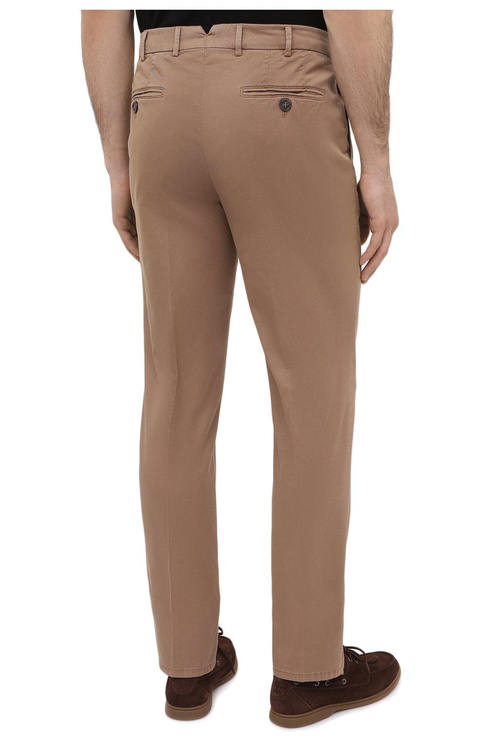 Мужские хлопковые брюки BRUNELLO CUCINELLI темно-бежевого цвета, арт. M289LB1770 | Фото 4 (Силуэт М (брюки): Чиносы; Длина (брюки, джинсы): Стандартные; Случай: Повседневный; Материал внешний: Хлопок; Стили: Кэжуэл)