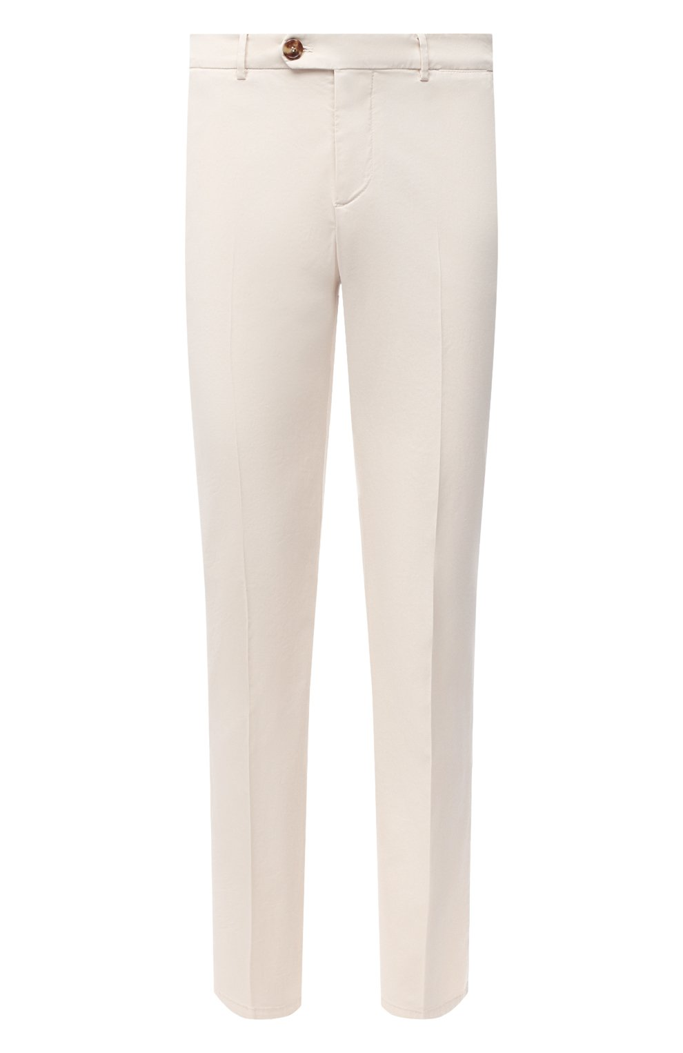 Мужские хлопковые брюки BRUNELLO CUCINELLI белого цвета, арт. M289LB1770 | Фото 1 (Силуэт М (брюки): Чиносы; Длина (брюки, джинсы): Стандартные; Случай: Повседневный; Материал внешний: Хлопок; Стили: Кэжуэл)