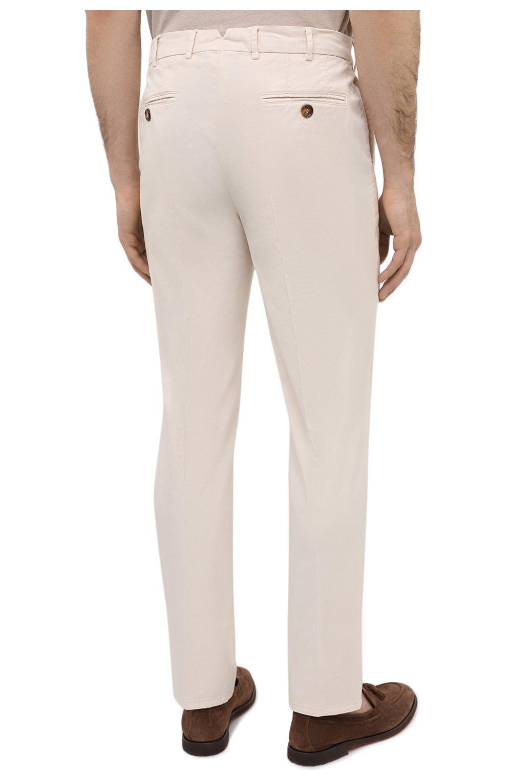 Мужские хлопковые брюки BRUNELLO CUCINELLI белого цвета, арт. M289LB1770 | Фото 4 (Силуэт М (брюки): Чиносы; Длина (брюки, джинсы): Стандартные; Случай: Повседневный; Материал внешний: Хлопок; Стили: Кэжуэл)