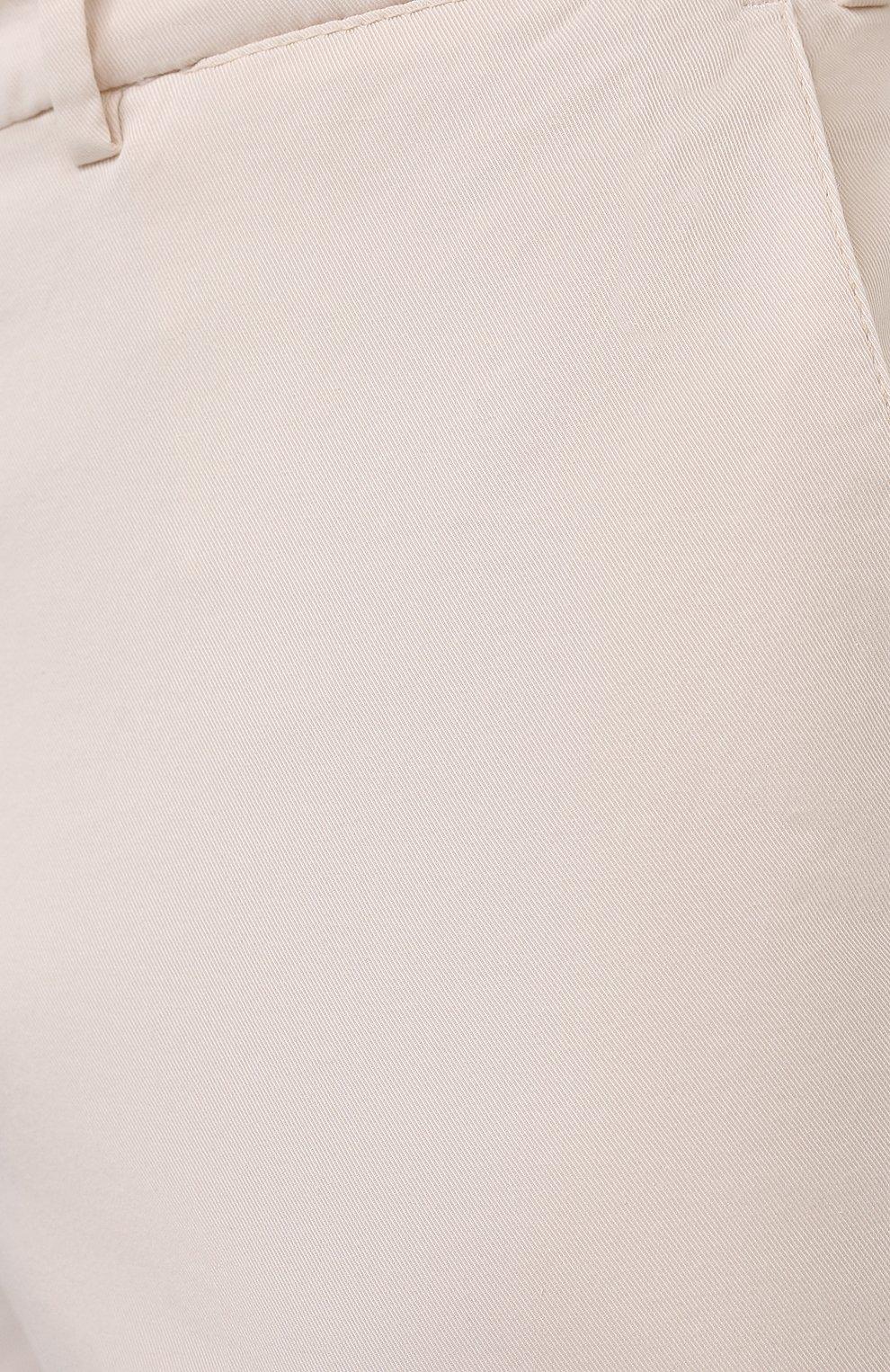 Мужские хлопковые брюки BRUNELLO CUCINELLI белого цвета, арт. M289LB1770 | Фото 5 (Силуэт М (брюки): Чиносы; Длина (брюки, джинсы): Стандартные; Случай: Повседневный; Материал внешний: Хлопок; Стили: Кэжуэл)