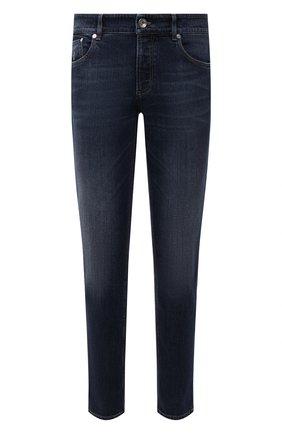 Мужские джинсы BRUNELLO CUCINELLI темно-синего цвета, арт. M283PB2210 | Фото 1 (Длина (брюки, джинсы): Стандартные; Материал внешний: Хлопок; Стили: Кэжуэл; Силуэт М (брюки): Прямые; Кросс-КТ: Деним; Детали: Потертости)