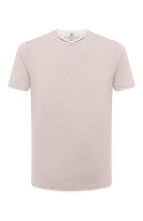 Мужская хлопковая футболка BRUNELLO CUCINELLI бежевого цвета, арт. M0T617427 | Фото 1 (Материал внешний: Хлопок; Рукава: Короткие; Длина (для топов): Стандартные; Стили: Кэжуэл; Принт: Без принта)