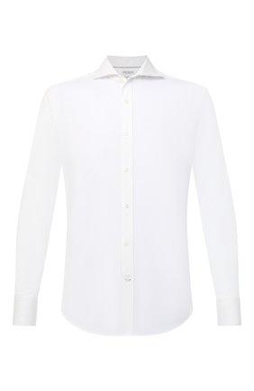 Мужская хлопковая рубашка BRUNELLO CUCINELLI белого цвета, арт. M0T656686 | Фото 1